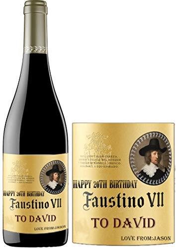 Etiqueta de vino personalizada Faustino para aniversario cumpleaños BL138