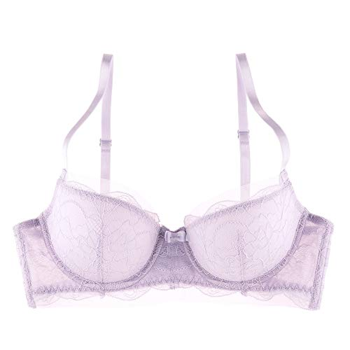 Undies.com Women's Classic Mesh and Lace Balconette Everyday Bra, Lavender, 38D
