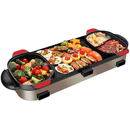 JGSDHIEU Elektrische multi-kooktoestel grillpan Hot Pot-kookplaat elektrische grillpan anti-aanbaklaag bakplaat