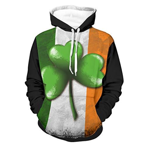 Sudadera con capucha para hombre con estampado de la bandera de Irlanda, de manga larga, con bolsillos blanco M