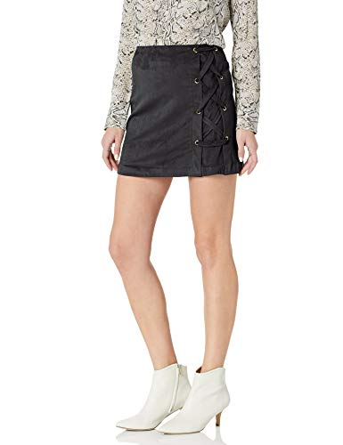 kensie Women's Stretch Suede Skirt with Lace Up Side, Black, S