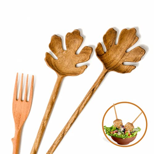 Salad Tongs for Serving, Spoons And Forks Set, Wooden Spoons, Salad Servers, Spoon Long Handle Salad Server Set Kitchen Cooking Utensil Cutlery Set, Gifts for Women (3 Pieces)