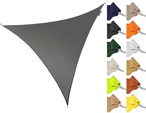 ZHhome Sonnenschirm 3 * 3 * 3m Dreieck Wasserdicht Gartenterrasse Sonnenschirm Segel Baldachin 96,5{96746cb9e4158be43c10dec8e3bbd05deab1c8ed267684bc7512d2c1dafea872} Anti-UV-Abschirmung Tuch (Weiß) (Farbe : Gray)