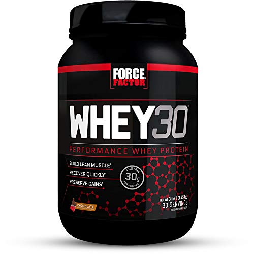 Force Factor WHEY30 Performance Whey Protein Powder with 30g of Protein per Scoop, Chocolate 3 Pound