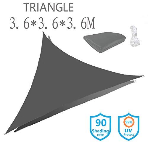 Sunnykud Sonnensegel Dreieck 3.6x3.6x3.6m Sonnenschutz Segel Wasserabweisend Windschutz 95% UV Schutz Markise mit Freiem Seil Imprägniert Segel Baldachin Oxford Tuch Grau