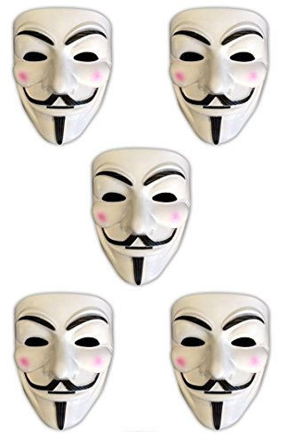 HAC24 5X V wie Vendetta Maske Anonymous Party Halloween Karneval Maske