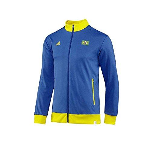 adidas Brasilien Herren Tracktop Sport Jacke Brazil WM 2014 Blau M