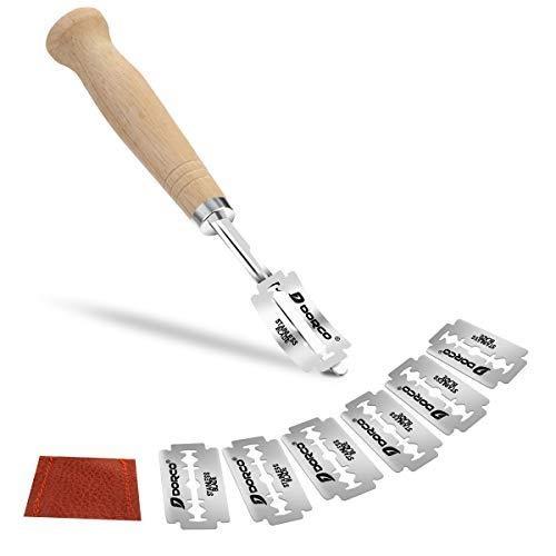 Bäckermesser, Baguettemesser,mit 5 PC Ersat Blättern,Teigmesser, Gebogene Brotmesser Edelstahl Brotmesser,Ritzmesser zum Einschneiden von Baguette, Brot oder Brötch mit Lederschutzhülle