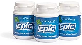 Epic Dental 100% Xylitol Sweetened Gum (Peppermint, 50-Count Bottles (Pack of 3))