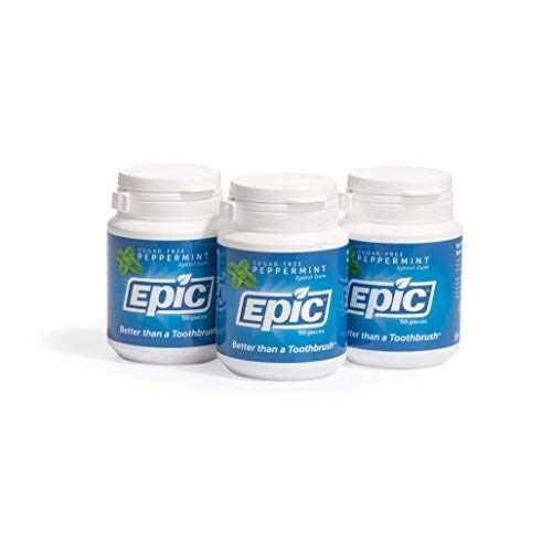 Epic 100% Xylitol-Sweetened Chewing Gum (Peppermint, 50-Count Bottles (Pack of 3))