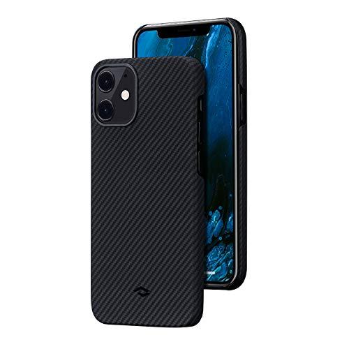 pitaka Custodia iPhone 12 Cover per iPhone 12 Ultra Slim Sottile Resistente in Fibra Aramidica Serie Air Case Elegante - Nera/Grigia Diagonale