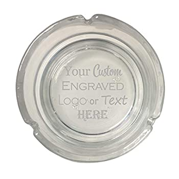 Hat Shark Custom Personalized 3D Laser Engraved Round Glass Ash Tray with Your Text or Personal Logo - Wedding Anniversary Birthday Gift,