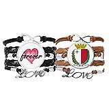 Bestchong Malta Europa - Pulsera de mano con emblema nacional de cuero y cuerda para siempre amor