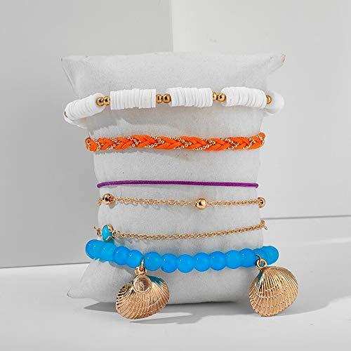 HONGYAN Bohemian Shell Bead Fußkettchen Für Frauen Shiny Crystal Stone Beach Seil Beinkette Sommerschmuck Zubehör