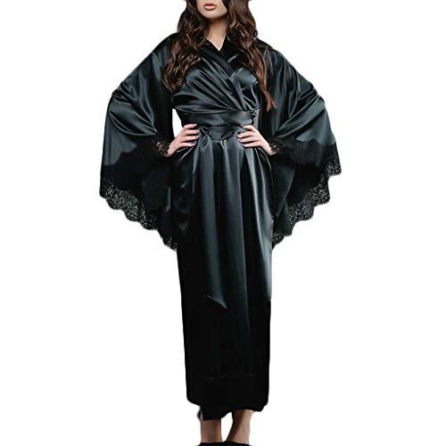 LOPILY Damen Morgenmantel Schlafanzug mit Gürtel Robe Bademantel Dessous Blumenspitze Saum Satin Kimono Lange Nachtwäsche Pyjamas Sleepwear(Schwarz,3XL)