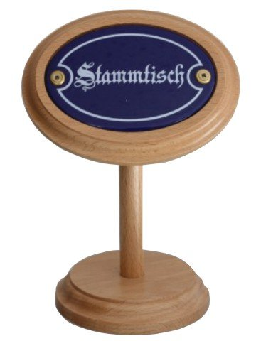 Stammtisch Stammtischaufsteller aus Holz mit Emaille Email Schild, Höhe ca. 20 cm.