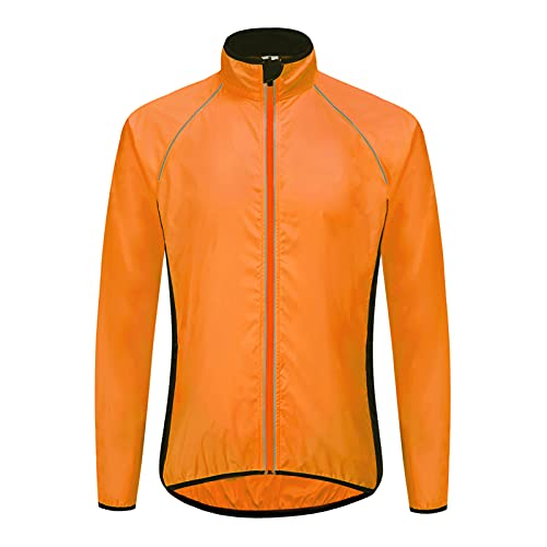 Chaqueta Ciclismo Reflectante,Resistente Viento y Aguachaqueta de Ciclismo para Hombre Mujer,Termicas Softshell Impermeable Chaqueta Cortaviento Hombre de Ciclismo (Size:XXX-Large,Color:naranja)