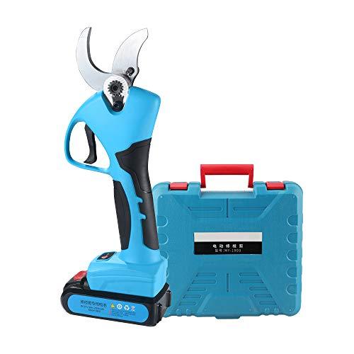 Tijeras de podar eléctricas inalámbricas Profesionales con podadora de Ramas de árbol Recargable con batería de Litio de 2 Ah, diámetro de Corte de 40 mm, 6-7 Horas de Trabajo (Azul)