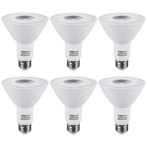 TORCHSTAR PAR30 Dimmable LED Spotlight Bulbs, Long Neck, CRI90+, 12W (75W Eqv.), UL & Energy Star Listed, E26 Standard Base, 840Lm, 3000K Warm White, for Recessed Trim Lighting, Track Light, Pack of 6