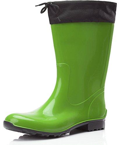 Ladeheid Botas Antideslizantes en PVC Mujer LA-968 (Verde/Negro, 39 EU)