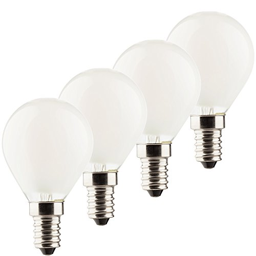 Müller-Licht–400199a + +, Juego de 4 Retro de LED lámpara Mini Globe, equivalente a 40W, cristal, E14, color blanco, 4.5x 4.5x 7.7cm