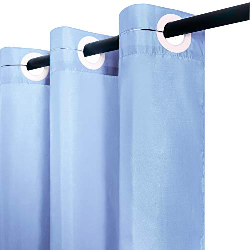 Cortina Ducha Tela Antimoho,Poliéster Cortinas de Baño Decorativas Impermeable & Lavable,Azul Crema Duchas de Baño Cortinas con Ojales-240x180cm Largo.