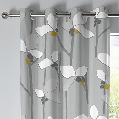Fusion - Kalmar - Par de Cortinas 100% algodón con Ojales - 117 x 137 cm de Ancho x 137 cm de caída (117 x 137 cm) en Color Gris