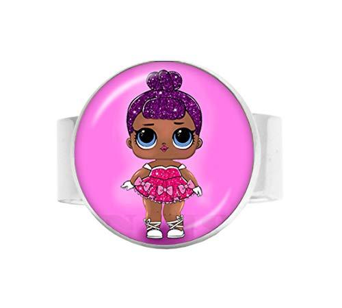 Niedlicher Baby-Prinzessinnen-Rock-Puppe, Glaskuppel, Anhänger, Kette, animiertes Kinder-Geburtstagsgeschenk, verstellbarer Ring