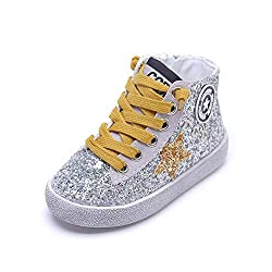 Yellow Glittler High Top Sequins Star Sneakers