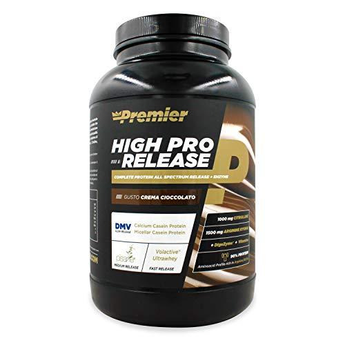 Premier Integratori High Pro Release - 1kg   Miscela di proteine del latte, proteine isolate del pisello,L-Arginina, Citrullina,vitamine del gruppo B (crema cioccolato)