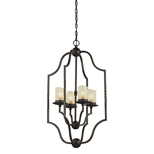 Sea Gull Lighting 5110604-191 Trempealeau Four-Light Hall or Foyer Light Fixture with Champagne Seeded Glass, Roman Bronze Finish