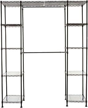 Amazon Basics Expandable Metal Hanging Storage Organizer Rack Wardrobe with Shelves 14 -63  x 58 -72  Bronze