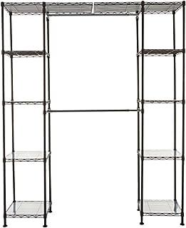 "AmazonBasics Expandable Metal Hanging Storage Organizer Rack Wardrobe with Shelves, 14""-63"" x 58""-72"", Bronze (B0798GRR24) | Amazon price tracker / tracking, Amazon price history charts, Amazon price watches, Amazon price drop alerts"