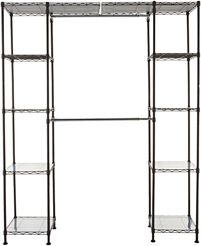 AmazonBasics Expandable Metal Hanging Storage Organizer Rack Wardrobe with Shelves, 14'-63' x 58'-72', Bronze