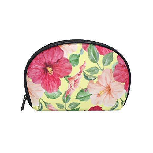 Landscape Flower Bonsai Tree Japanese Womens Half Moon Cosmetic Bag Makeup Pouch Shell Toiletry Kits