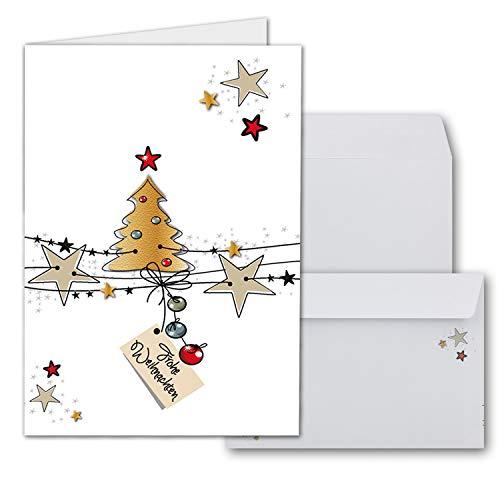 10x Weihnachtskarten-Set DIN A6 in Weiß mit Lebkuchen-Weihnachtsbaum Motiv - Faltkarten mit passenden Umschlägen - Weihnachtsgrüße für Firmen und Privat