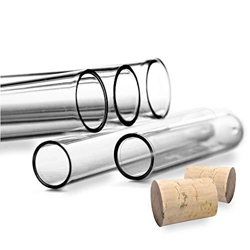 Tuuters 100x Kunststoff Reagenzgläser mit Korken (Naturkorken), Reagenzröhrchen (100 x Ø 16mm)