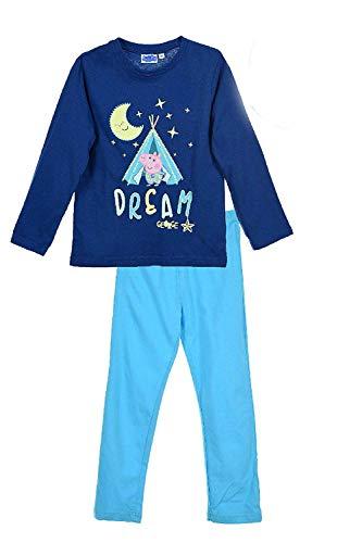 Peppa Pig Kinder Jungen Schlafanzug lang Gr 98-116 Pyjama blauNachtwäsche neu!, Größe:116, Farbe:dunkelblau