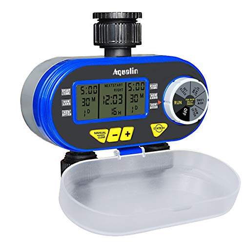 Aqualin Water Hose Tap Timer Watering Computer with 2 Solenoid Valves Garden Irrigation System Controller, Blue
