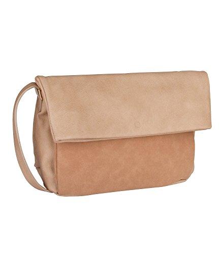SIX mittelgroße beige Damen Handtasche in Wildleder Optik mit Reißverschluß und magnetischem Druckknopf Umhängetasche Schultertasche (463-875)