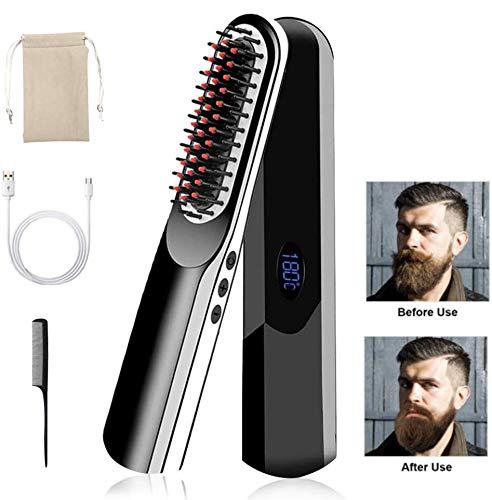 Cepillo alisador de pelo USB cepillo alisador de barba portátil eléctrico inalámbrico multifuncional peine alisador rápido