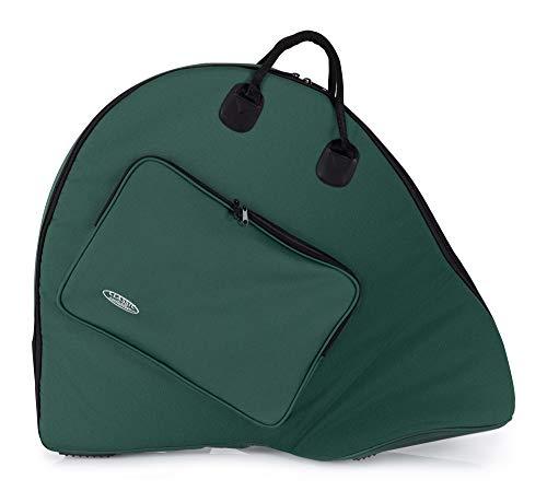 Classic Cantabile PHT-1 Tasche für Parforcehorn - Softbag für einwindige Hörner - große Außentasche - abnehmbare Rucksackgurte - grün