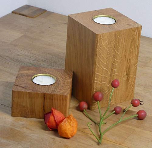 Teelichhalter Holz Eiche Massivholz Kerzenständer Teelicht Eichenholz 2er Set klein Herbstdeko (Metall)