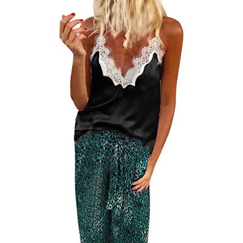 Camiseta de mujer Transwen sexy, cuello en V, encaje, patchwork, sin mangas, elegante, verano, sin mangas Negro  S