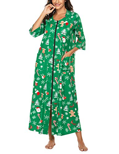Ekouaer Women Long Christmas Nightgowns Zip Up Robe Housecost Long Sleeve Lougewear with Pockets(Xmas Green,S)