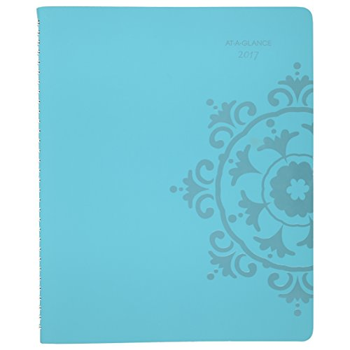 """AT-A-GLANCE Weekly / Monthly Appointment Book / Planner 2017, 8-1/2 x 11"""", Professional, Suzani, Turquoise (917P-905)"""
