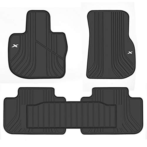San Auto Car Floor Mat for BMW X3 G01 X4 G02 Custom Fit 2018 2019 2020 Black White Rubber Auto Floor Liners Set All Weather Protection Heavy Duty Odorless