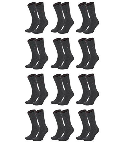 TOMMY HILFIGER Herren Classic Casual Business Socken 12er Pack (anthracite melange, 43-46)
