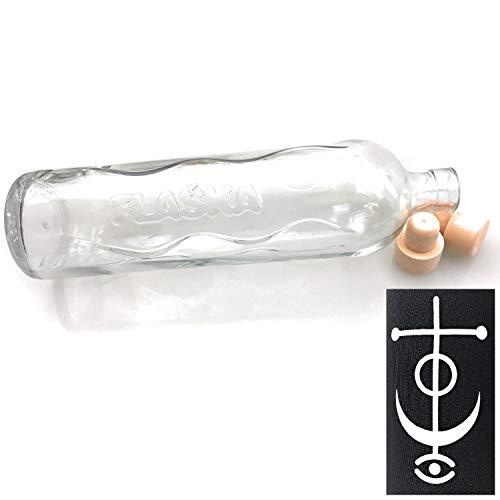 Kerafactum Design Symbol Erfolg Neopren Trinkflasche Wasserflasche 0,50 Ltr. Flaska Glas Wasser Trink Flasche Glasflasche zum regelmäßigen Trinken Wassertrinken 2 Korken und 1 Flaschenbürste