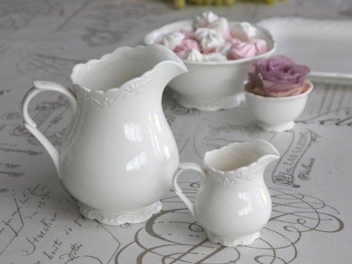 Milchkännchen Milchkanne kleine Kanne aus Porzellan weiß 'Provence' 250 ml